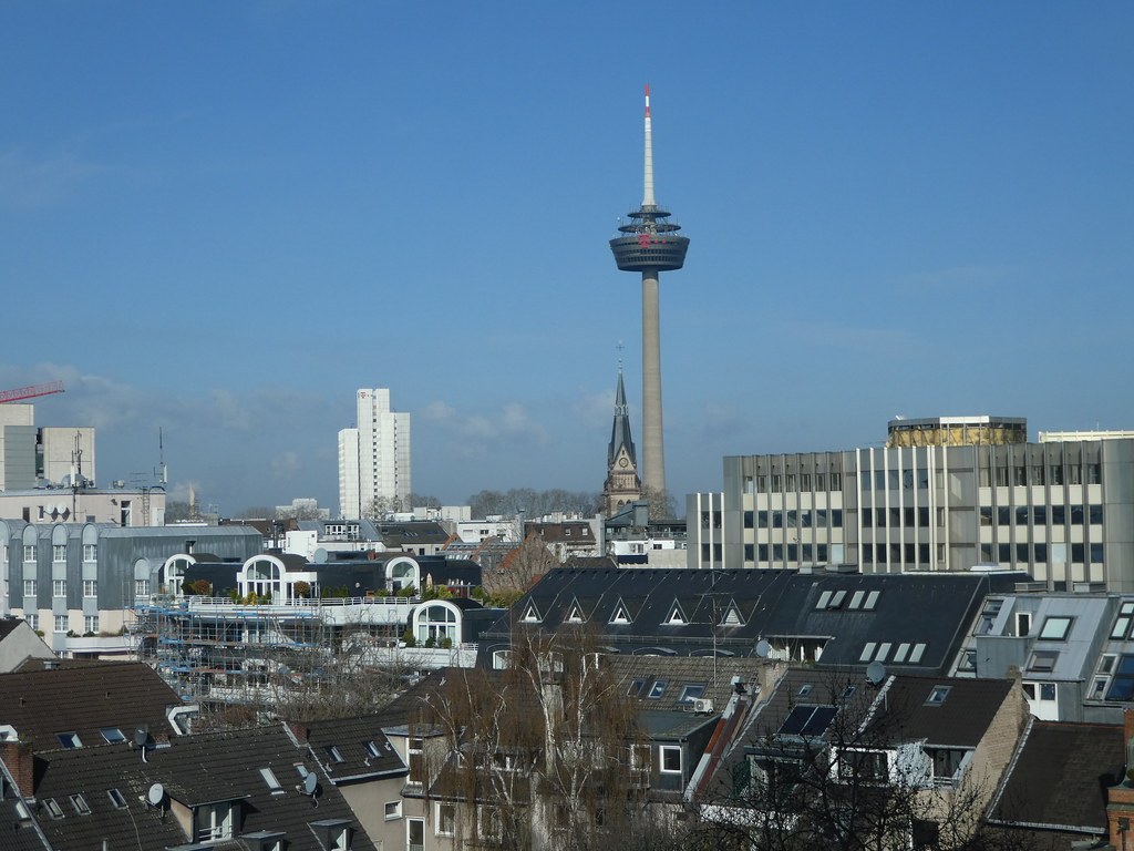 Far reaching views over the city centre rooftops from our bedroom window Pullman Hotel, Cologne