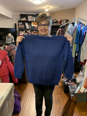 This is Diane's Flax that she knit for the Top Down Sweater Class using Cascade 220 Heathers