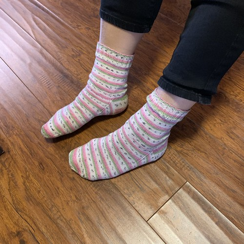 These are the first socks that Donna knit for her magic loop sock class