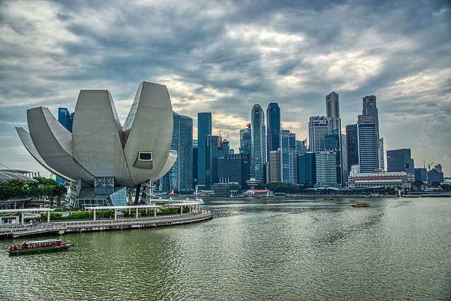 Arts & Science museum with Central Business District (CBD) by the Marina Bay in Singapore