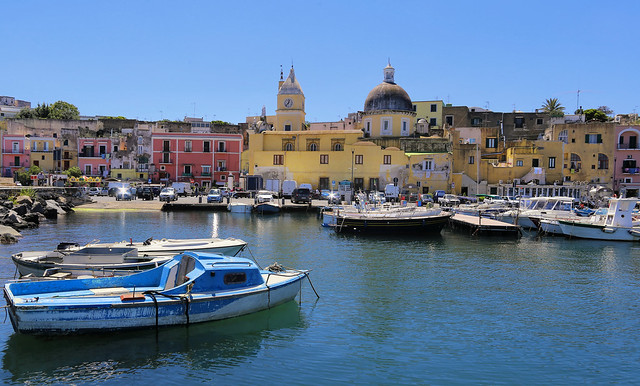 The local active Maria church blended in the water front area of Procida