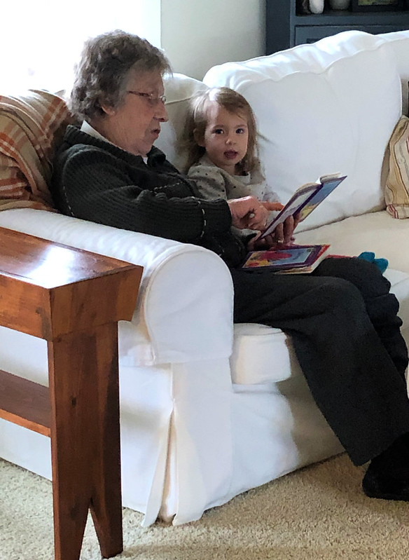 reading with great grandma