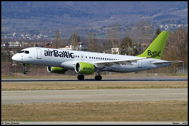 AIRBUS A220 300 airBaltic YL-AAP 55051 Genève février 2020