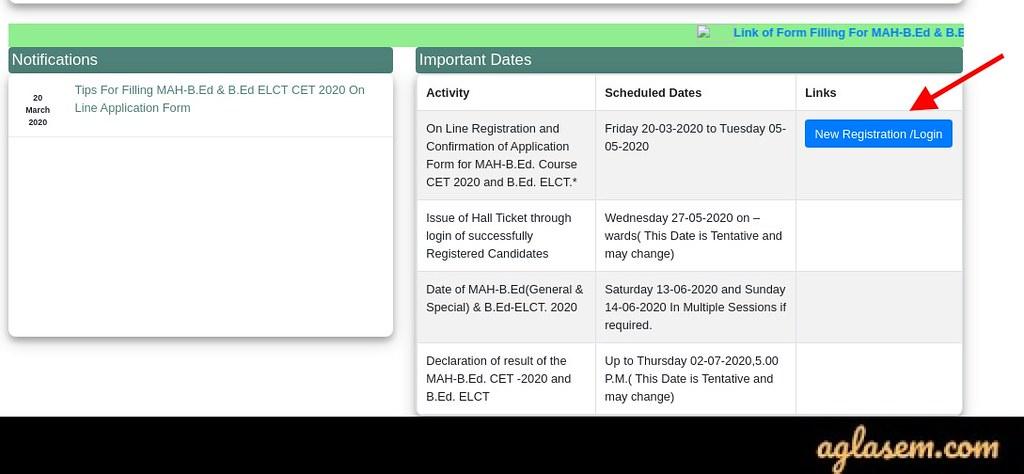 MAH B.Ed CET 2020 Application Form