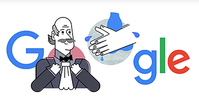Google Doodles celebrates Ignaz Semmelweis and handwashing. Click to watch the video.