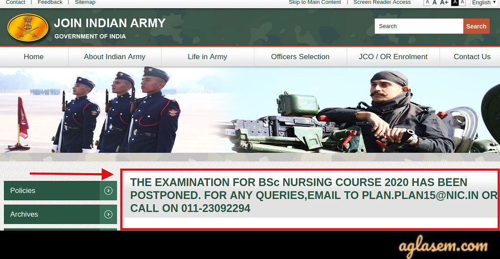 Indian Army B.Sc Nursing 2020 Exam Postponed Notice