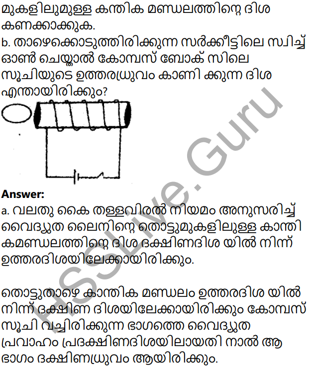 Kerala Syllabus 10th Standard Physics Solutions Chapter 2 Magnetic Effect of Electric Current in Malayalam 35
