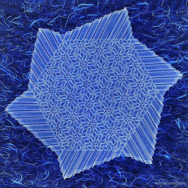 Origami Tessellation 'Sea of Flowers' (backlit) (Marjan Smeijsters)