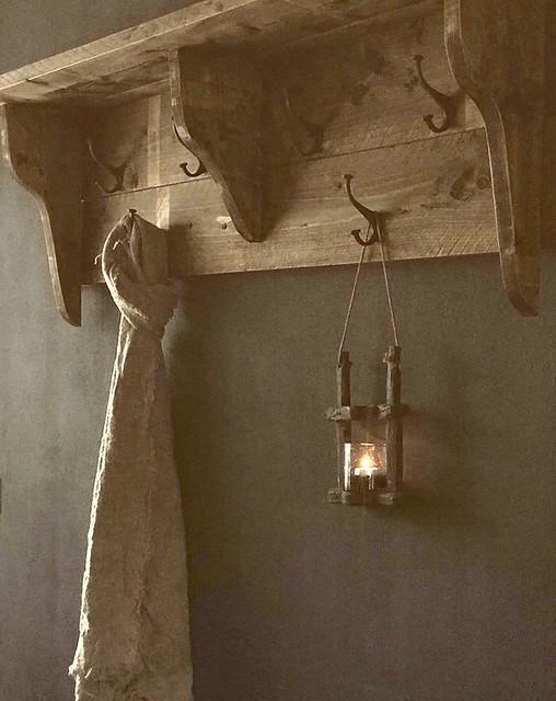 Houten regaal linnen doek windlicht