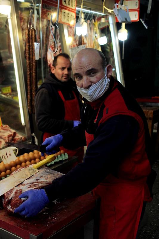 Market stalls still open in the city of Thessaloniki despite Greek government's lock down