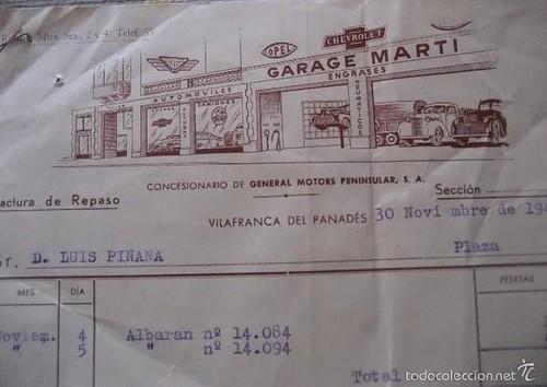 membret factura 1947 Garatge Martí Vilafranca del Penedès