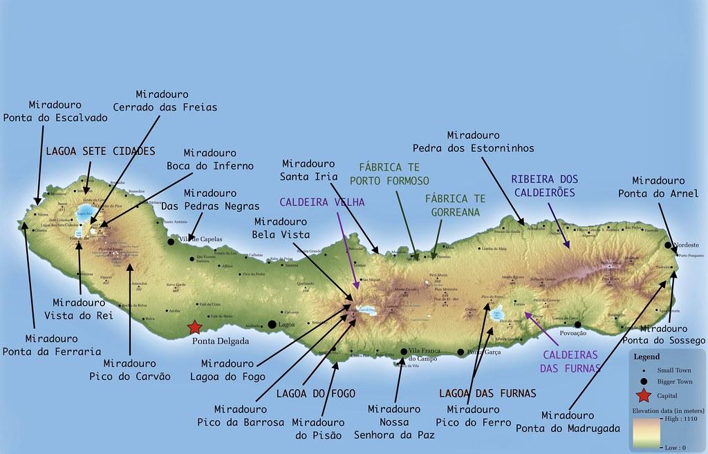 Mapa con los mejores miradores de Sao Miguel