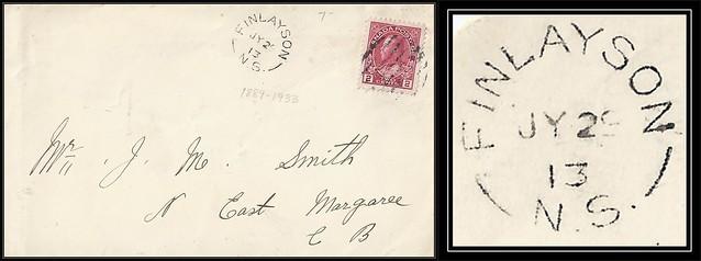 Nova Scotia / Cape Breton Postal History - 29 July 1913 - FINLAYSON (Victoria County), N.S. (split ring / broken circle cancel / postmark) to North East Margaree (Inverness County), Cape Breton