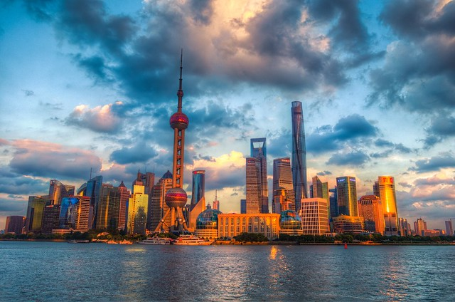Sunset at Lujiazui in Pudong Area in Shanghai