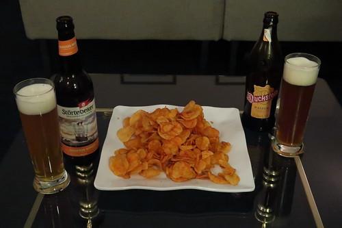 Weizenbier und Paprika Chips