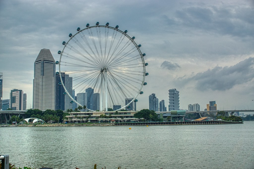 Singapore Flyer ferris wheel by the Marina Bay