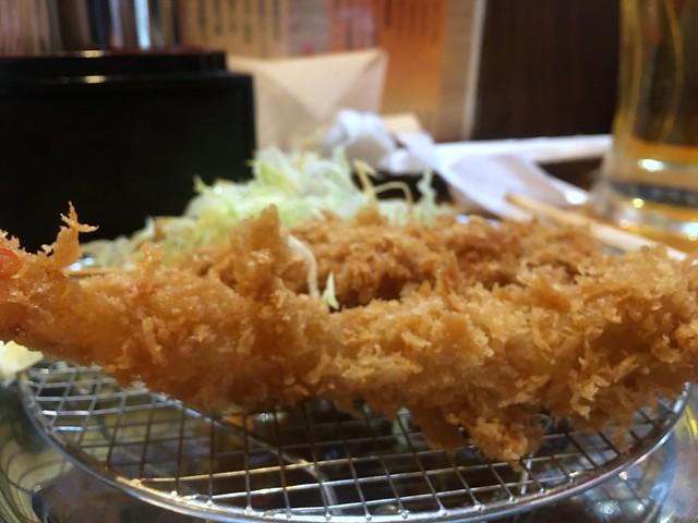 A deep-fried prawn from Tachinomi Tonkatsu Maruya @ Shimbashi