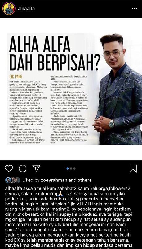 Alha Alfa Umum Sudah Bercerai dengan Noor Azlin di Instagram