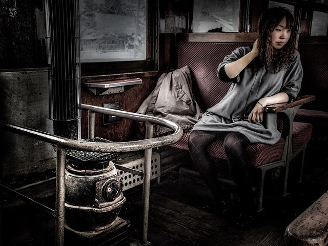 Girl traveling by train