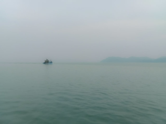 Ghost ship Coming out of the fog