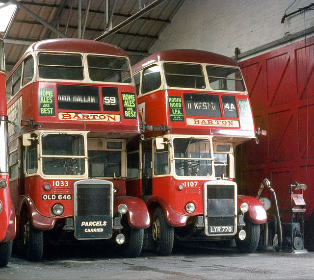 Barton Transport . 1033 OLD646 & 1107 LYR770 . Ilkeston Garage , Derbyshire . Sunday morning 29th-March-1970 .