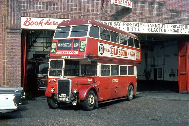 Barton Transport . 1032 OLD591 . Ilkeston Garage , Derbyshire . Sunday morning 29th-March-1970 .
