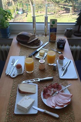 Frühstück nach Einkauf im Supermarkt