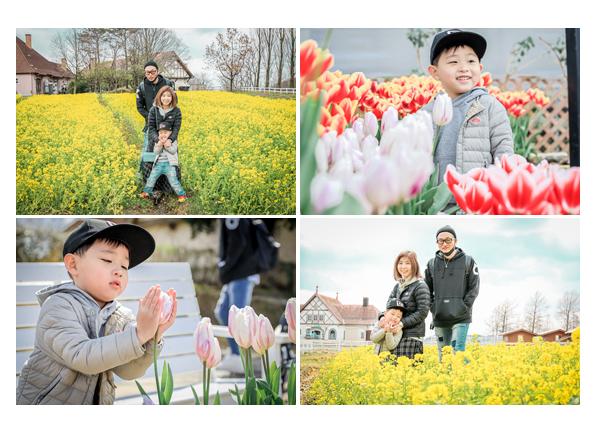 出張カメラマンが撮る家族写真 ブルーメの丘 菜の花 チューリップ