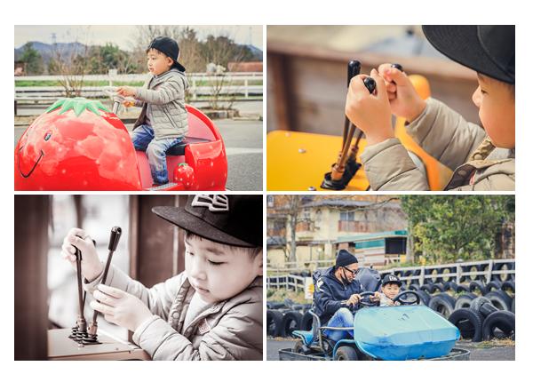 ブルーメの丘 カートやクレーン車で遊ぶ男の子