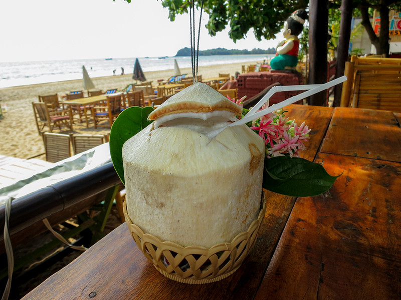 Enjoying a pina Colad at Klong Khong Beach