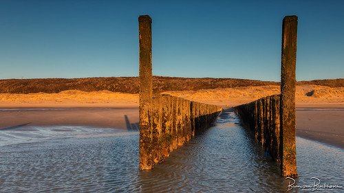 breakwater with the golden hour at low tide