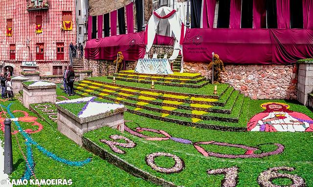 Bejar,calles adornos de flores, procesion del Corpus 2016
