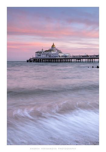 eastbourne sussex pier sunset colour sea water outdoors seascape coast beach