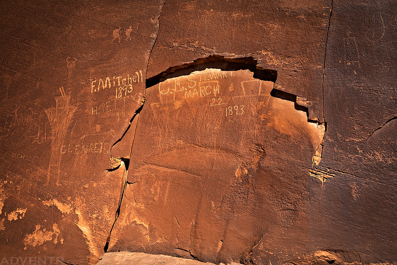 Inscriptions Over Fremont Petroglyphs