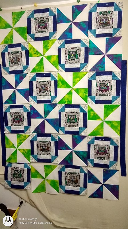 Senior Quilt on the design wall