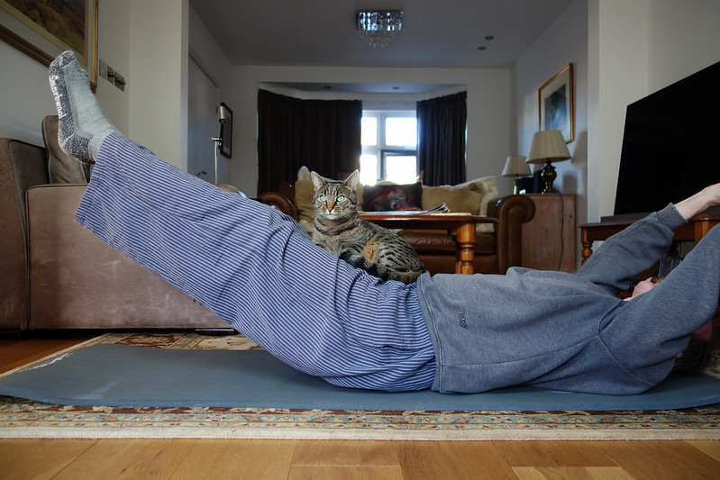 Self-isolation Pilates with my cat