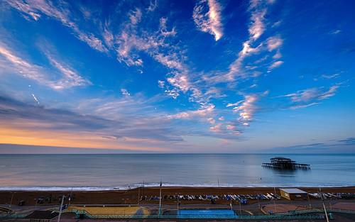 brighton sunrise westpier sea sky beach