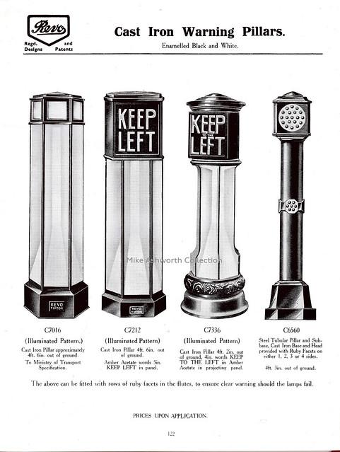 Revo Electric, Tipton, Staffordshire - Cast Iron Warning Pillars catalogue page, c1938