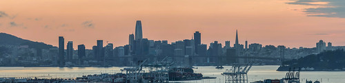 mountainview oakland piedmont over view sunset eastbay alamedacounty california color march 2020 boury pbo31 mom nikon d810 panorama large stitched panoramic sanfrancisco skyline city salesforce transamerica baybridge port ship orange