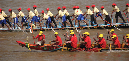 Boat races at the festival on the Tonle Sap River in Phnom Penh, Cambodia