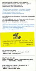 Fundición Tipografica Neufville, S.A. / Traversera de Gracia, 183 / 08012 Barcelona (España)