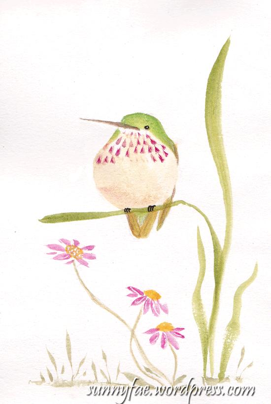 hummingbird on grass
