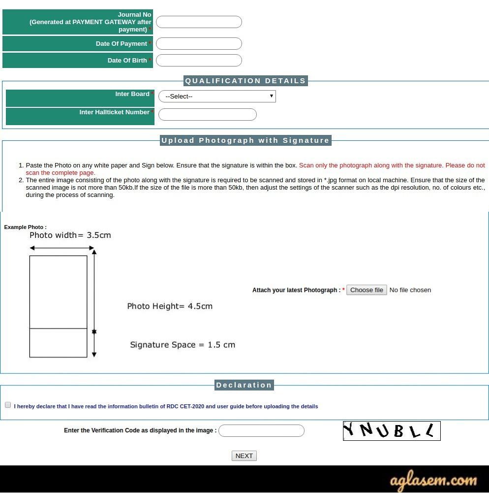APRDC CET 2020 Application Form