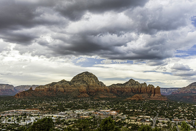 Red Rock of Sedona viewed from the Airport Rd. Coffee Pot Rock on the right end