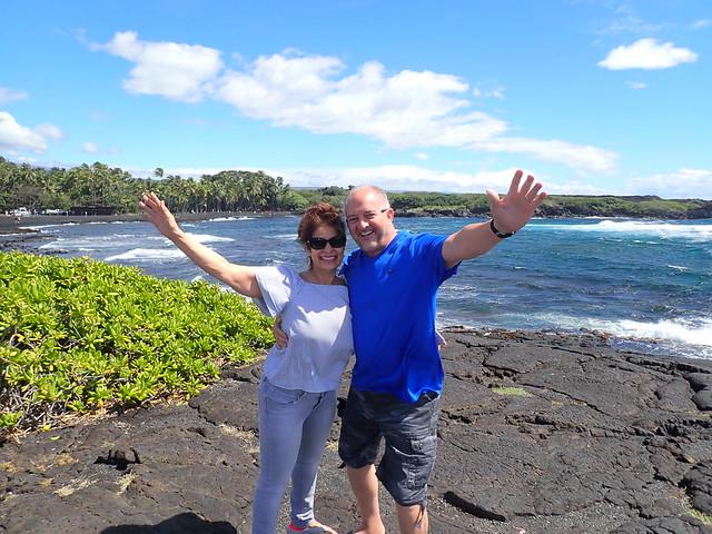 Chuck and Jeanette at Punalu'u Black Sand Beach Park