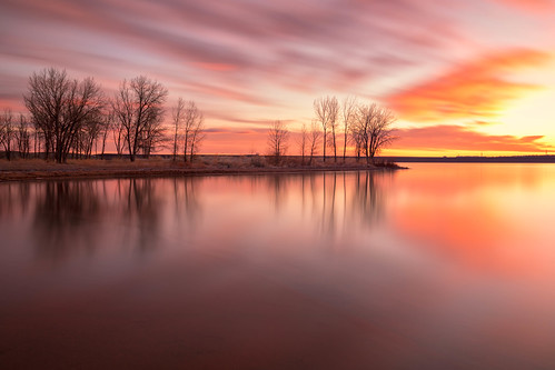 sunrise dawn daybreak water lake trees landscape longexposure le reflections chatfieldstatepark colorado