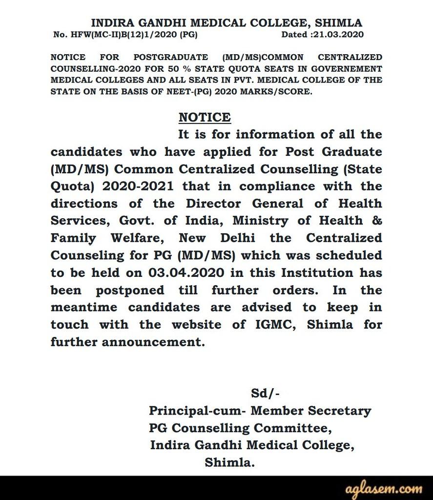 Himachal Pradesh PG Medical Admission through NEET PG 2020 (Postponed!)