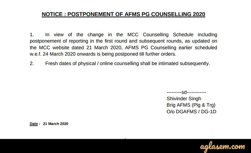 Notice for Postponement of AFMC PG Counselling 2020