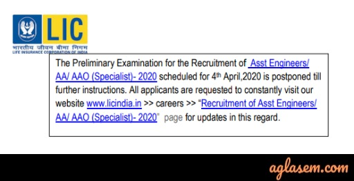 LIC Assistant Engineer/AA/AAO (Specialist) Preliminary Exam Postponed Due to COVID-19
