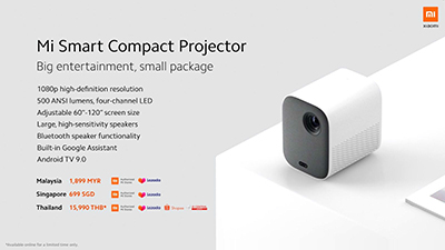 Xiaomi also launched a series of ecosystem products.The Mi Smart Compact Projector (S$699) will be available from Authorised Mi Stores and via Lazada for shoppers in Singapore starting from 20 April.